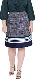 oxolloxo Women's Plus Size Abstract Skirt (Navy)