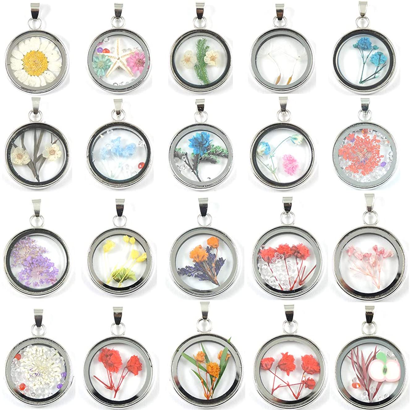 5pcs Mix Color Platinum Plated Round Dried Pressed Flower Plant Charm Time Gemstone Floating Pendant Necklace Making Supplies