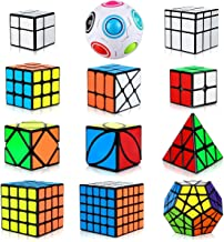 Aiduy Speed Cube Set 12 Piezas, Cubo Piramide Triángulo 2x2 3x3 4x4 5x5 Cubo Mágico Profesional, Cubo Megaminx + Cubo Skew Ivy + Cubo Mirror + Magic Rainbow Ball Speed Cube