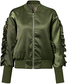 Perfect-display Army Green Bomber Basic Jacket Satin Ruffles Baseball Jacket Outerwear Autumn Winter