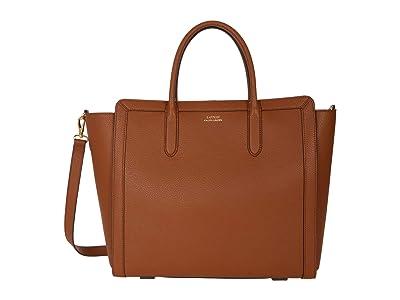 LAUREN Ralph Lauren Classic Pebble Tyler 34 Tote Medium (Lauren Tan) Handbags
