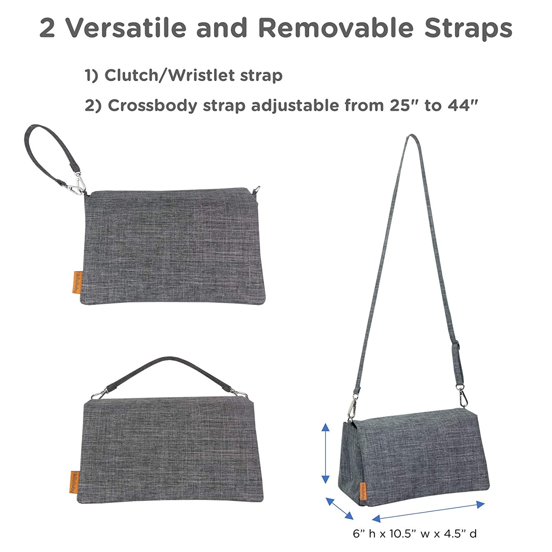 liuliuby Crossbody Diaper Clutch - Diaper Pouch, Small Diaper Bag, Wristlet (Heather Gray)