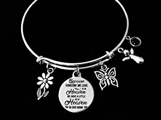 Birthstone Guardian Angel Because Someone We Love is in Heaven We Have a Little Bit Of Heaven In Our Home Memorial Expandable Charm Bracelet Adjustable Wire Bangle Silver One Size Fits All Gift