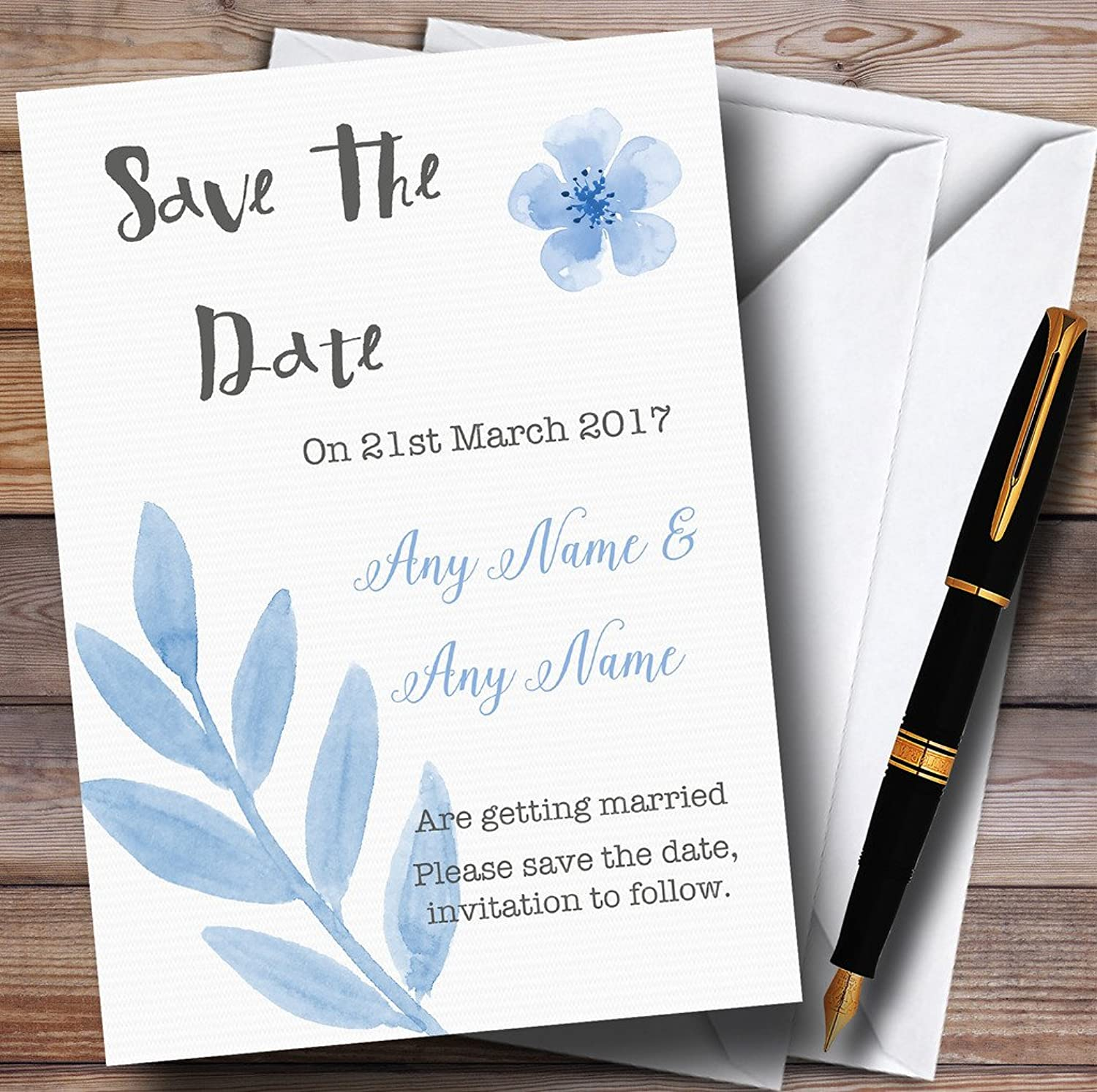 Watercolour Subtle Powder Baby bluee Personalised Wedding Stationery Save The Date Cards