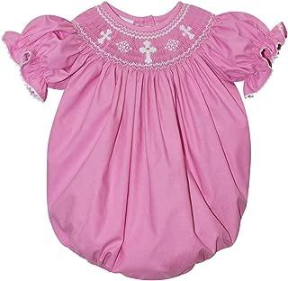 Smocked Crosses Girls Pink Short Sleeve Bubble