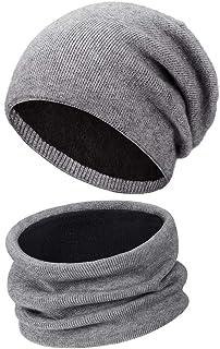 Wmcaps Gorro Bufanda Hombre, Grueso Punto Calentar Beanie Sombrero Gorras y Bufanda de Suave Invierno para Hombre Mujer Co...