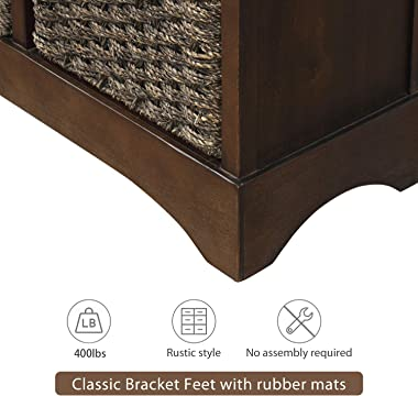 Gelsey Storage Cabinet, Entryway Table Storage Chest with 2 Drawers and 4 Classic Rattan Baskets for Home,Kitchen,Living Room