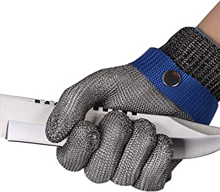 ThreeH Cut Resistant Gloves Stainless Steel 316L Wire Mesh Butcher Gloves Level 5 Protection Working Glove GL09 XS(One piece)