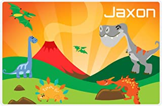 Personalized Dinosaur Placemat - Dinosaur IX - Green Grass with Volcano