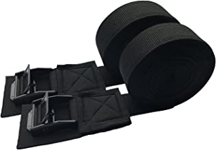 Tie Down Strap Padded Cam Lock Buckle - Cargo Straps for Moving Appliances, Lawn Equipment, Motorcycle SUP Kayak Surfboard Surf Rack - Black Pair (11FT)