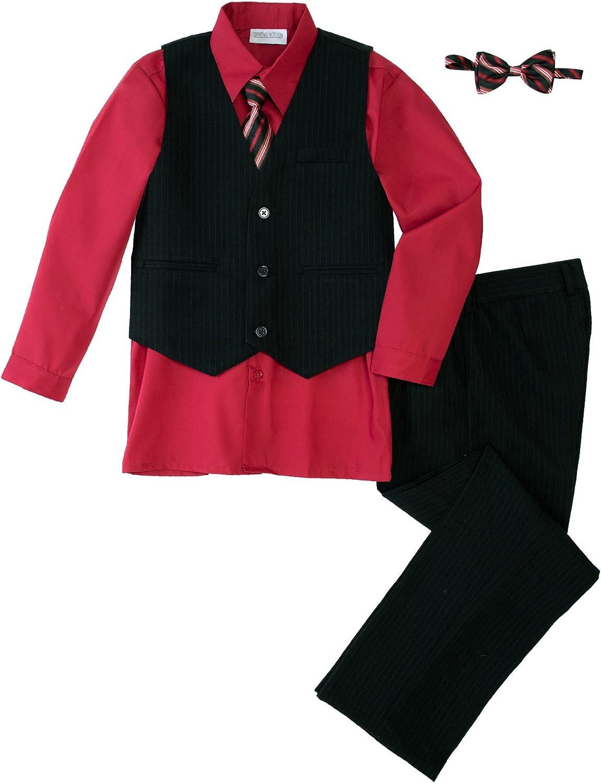 Spring Notion Big Boys' 5 Piece Pinstripe Vest Set with Necktie and Bowtie Red