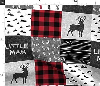 Spoonflower Fabric - Little Man Red Black Buck