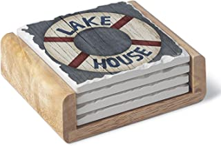 Absorbent Stoneware Coaster Set - Lake House Life Preserver with Wooden Holder