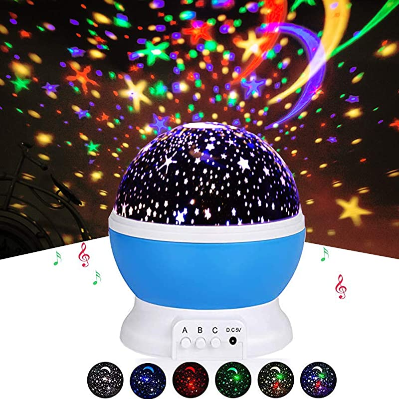 Night Light Projector Morovigo Music Player 360 Degree Rotation Kids Projector Night Light With 8 Multicolor Starry Light Best Presents For Kids Nursery Bedroom USB Music Blue
