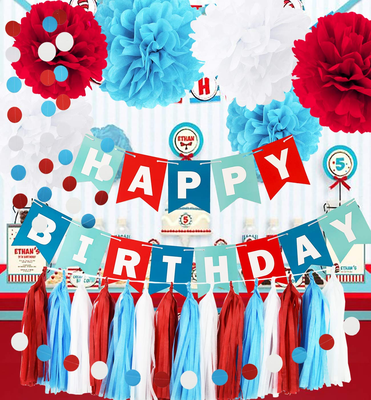 Dr Seuss Cat In The Hat Party Decorations  from m.media-amazon.com