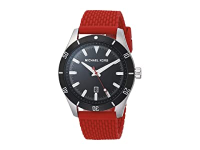 Michael Kors Layton Three-Hand Silicone Watch (Red) Watches