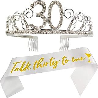 30th Birthday Tiara and Sash, Talk Thirty To Me Sash and Crystal Rhinestone Tiara Birthday Crown for HAPPY 30 Birthday Party Supplies and Decorations(Sash+Tiara) /TW