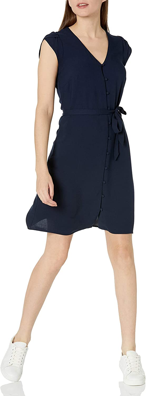 Goodthreads Women's Fluid Twill Tulip Sleeve Tie-Waist Dress