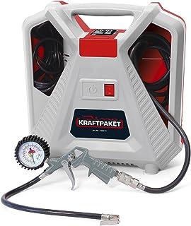 Dino KRAFTPAKET Kompressor 230V 190 L/min 8 Bar 1.5 PS 1100 W Tragbarer Druckluft Kompressor mit Ausblaspistole Reifenfüllmesser Adapterset (9 teilig mit Reifenadapter,Ballnadel,Luftmatratzenadapter)