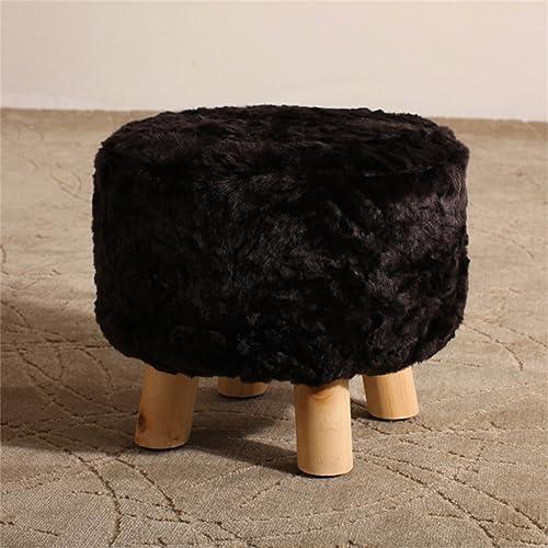 Solid Wood Change Schuh Hocker Runde gepolsterte Fu cker 4 Holz Bein Hocker Stoffbezug abnehmbar (Farbe   G)