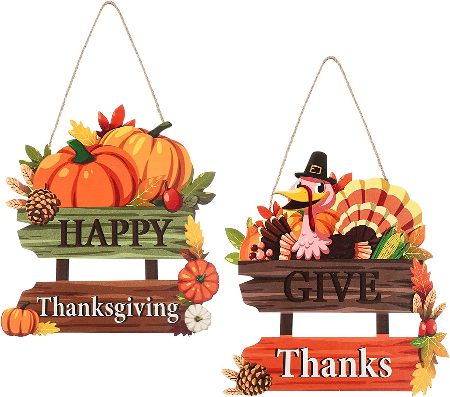 2 Pieces Give Thanks Wood Sign and Happy Thanksgiving Door Sign Thanksgiving Pumpkin Front Door Hanger Turkey Wooden Door Decor for Thanksgiving Party Fall Home Autumn Holiday Door Wall Decoration