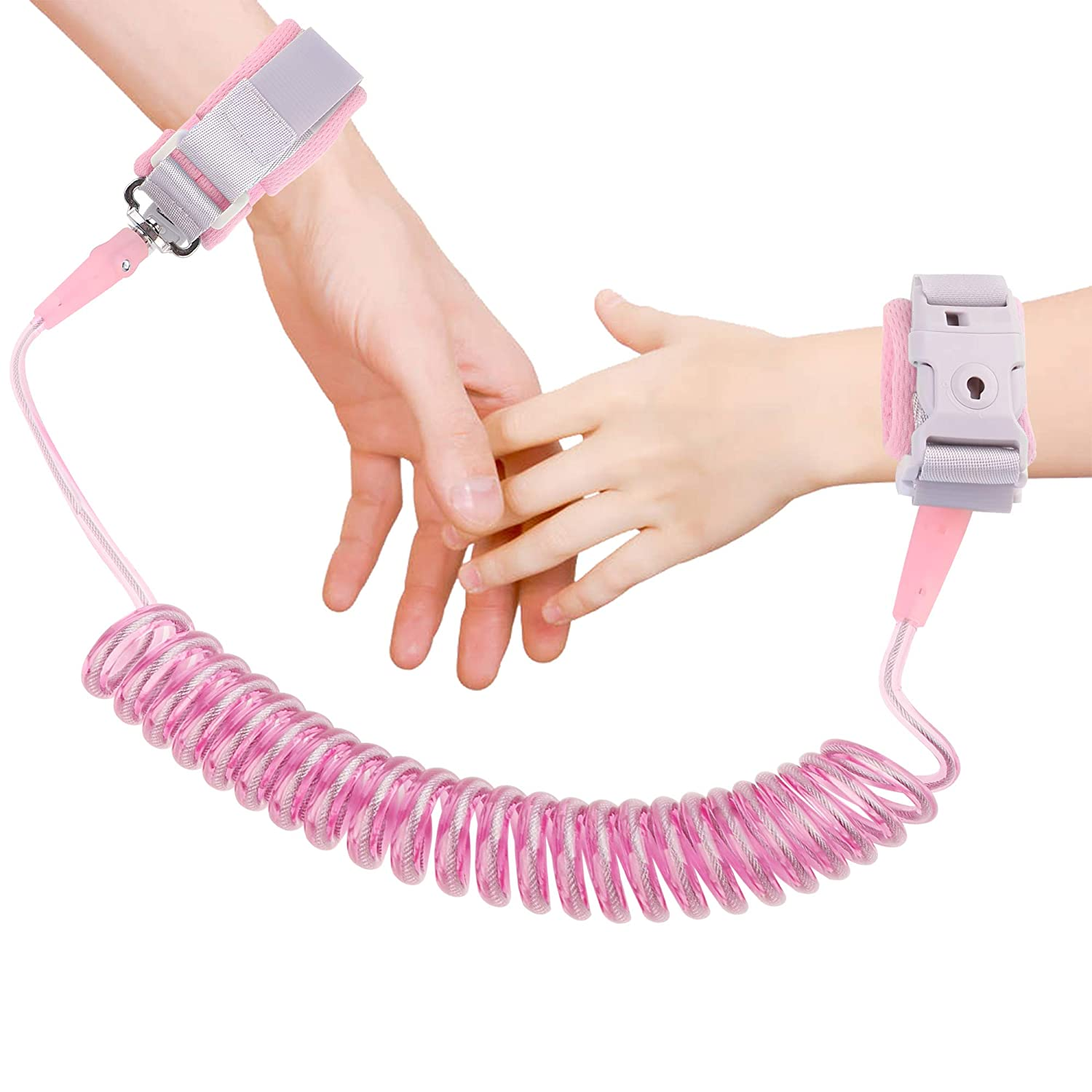 Anti Lost Wrist Link, Toddler Safety Leash with Key Lock, Safety Wrist Leash for Toddlers, Babies & Kids 8.2 feet Pink (red)