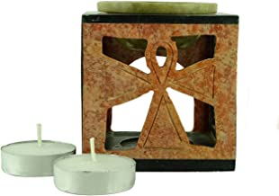 Brahmz Aroma Oil Burner Soapstone Diffuser with Carving Candle Holder - Soapstone - 9 Black & Cream