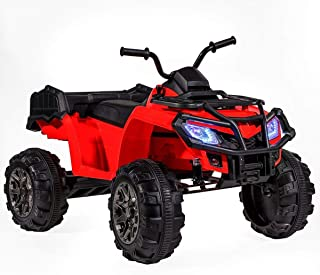 ihubdeal Kid Electric Ride-On ATV 4-Wheel All Terrain Vehicle 12V Powered MP3 Player LED Light 2-Speed Function, Red