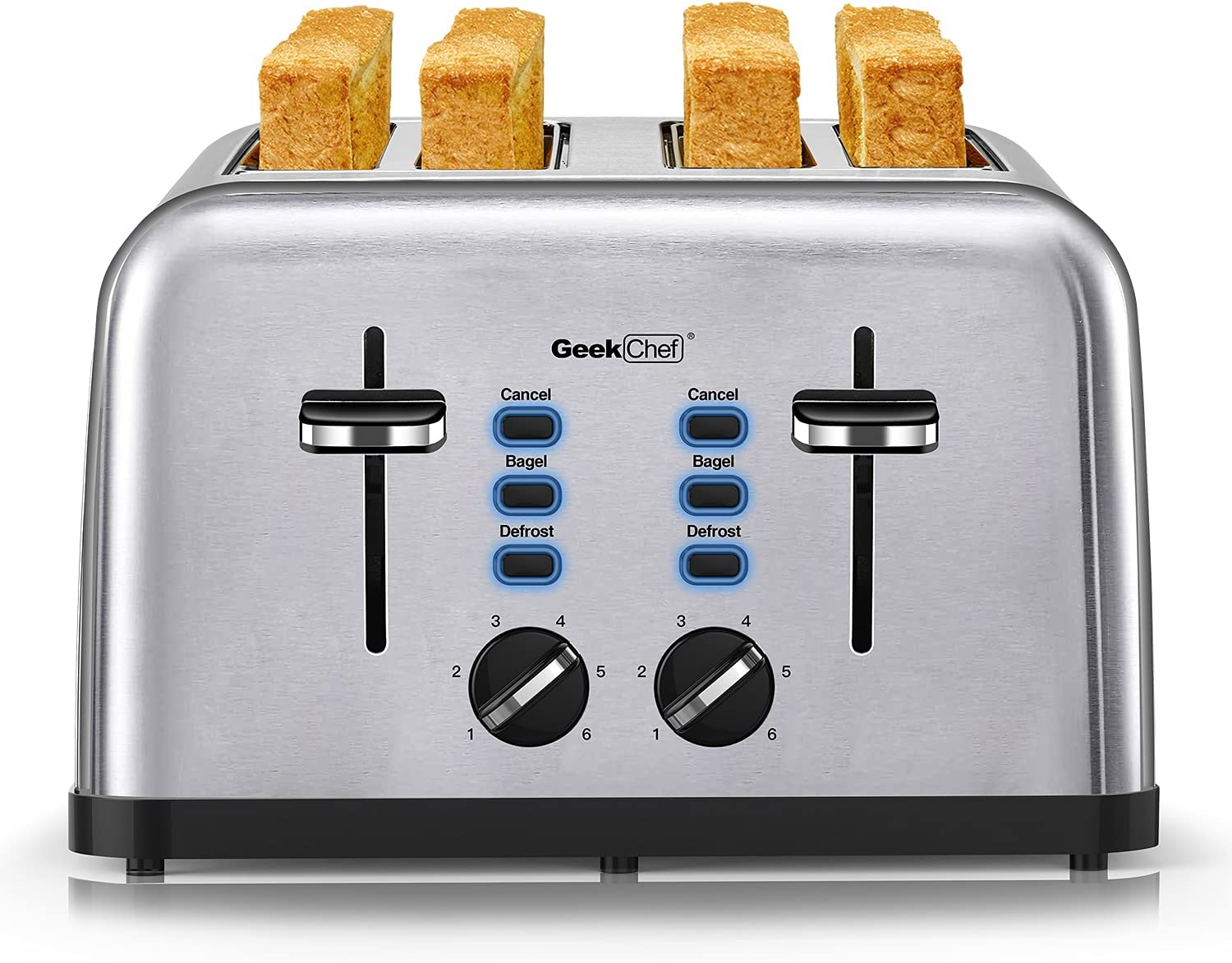 Toaster 4 Slice, Geek Chef Extra Wide Slots Four Slice Toaster, Bagel/Defrost/Cancel Functions, 6 Browning Settings, Removable Crumb Tray, Auto Pop-up, Stainless Steel