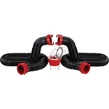 Valterra 20-Foot Dominator RV Sewer Hose Kit, Universal Sewer Hose for RV Camper, Includes 2 Attachable 10-Foot Hoses with Rotating Fittings, 90 Degree Clearview Sewer Adapter, and 4 Drip Caps
