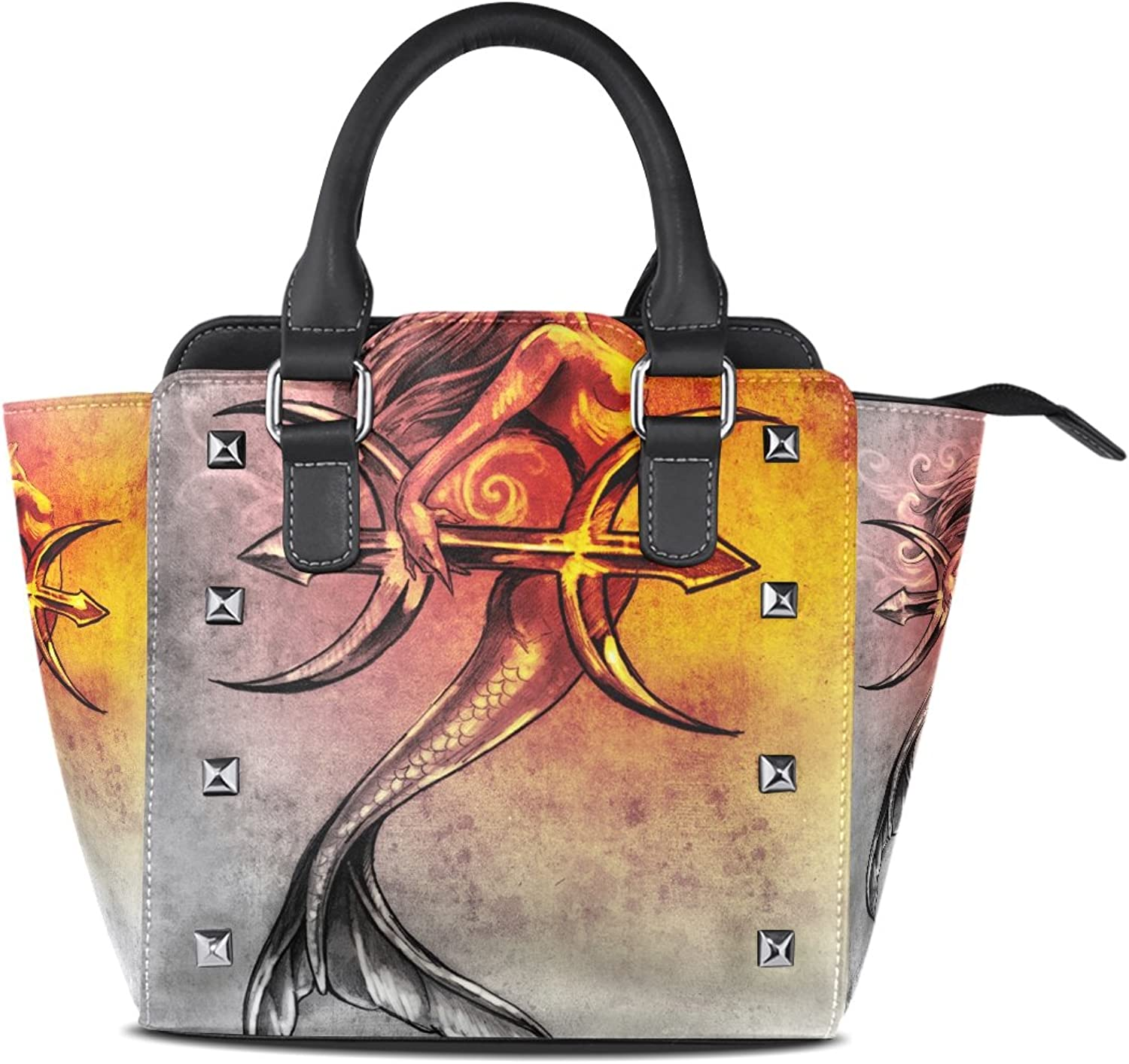 Sunlome Mermaid Pisces Vintage Print Handbags Women's PU Leather Top-Handle Shoulder Bags