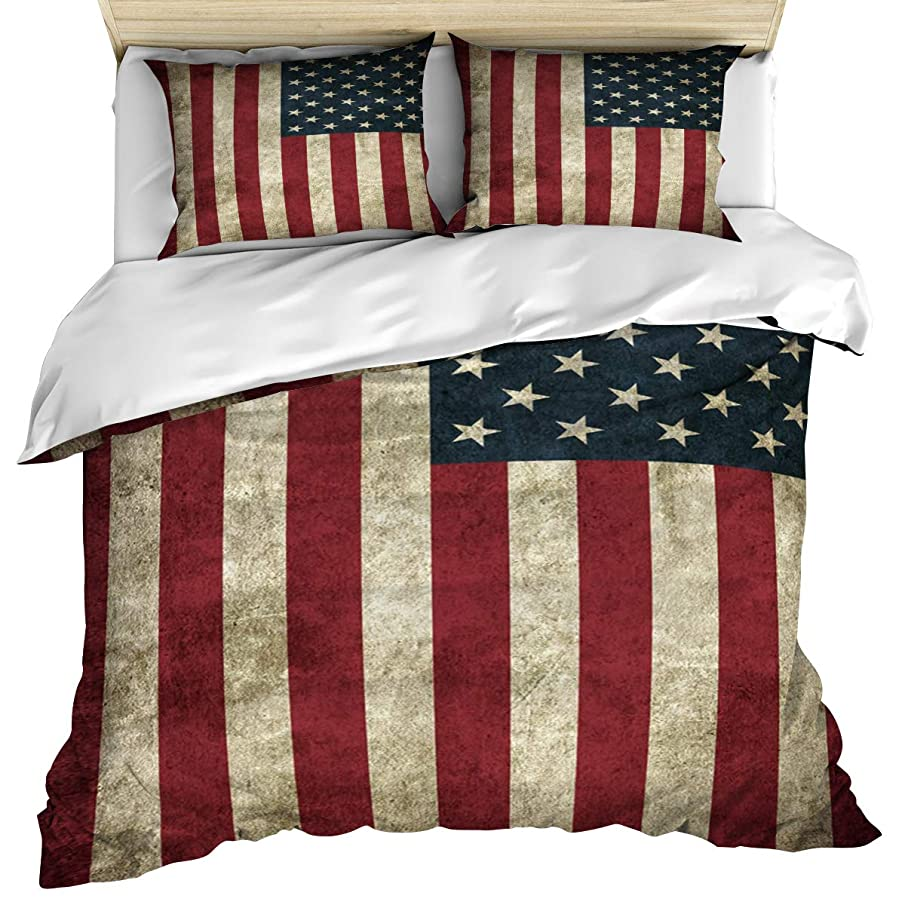 Anzona Luxury Microfiber 3 Piece Bedding Set Twin Size, Vintage USA American Flag 3PCS Zippered Duvet Cover Comforter Cover Set with Quilt Cover, Pillow Cases for Kids/Teens/Adults