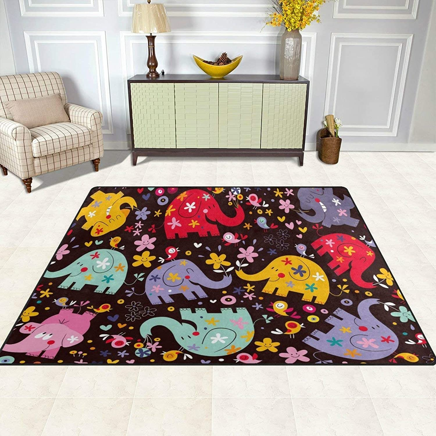 Area Rugs Mat Carpet 5'x7', Cute Animal Elephant Floral Bird Pattern Polyester Non-Slip Living Room Dining Bedroom Carpet Entrance Floor Mat Home Decor