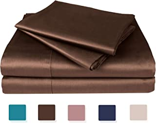 Artmarry House 100% Cotton Sheets-Genuine 1000-Thread-Count,4 Pc Sheets Set,Super Soft and Smooth,Sateen Weave,Fits Mattress Upto 18 inches Deep Pocket (Queen,Coffee Brown)