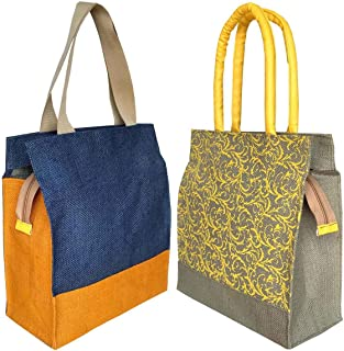 Foonty Daily Use Women Jute Lunch Bags(Combo of 2,Multicolour,fab-7)