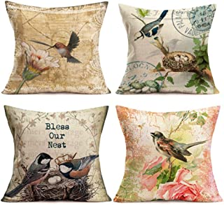 Smilyard Hello Spring Retro Pillow Covers Animal Mother Bird Protect Our Nest Throw Pillow Case Flower Cushion Covers Couch Pillow Covers 18X18 Inch 4 Packs Pillow Slip(Birds&Flower 01)
