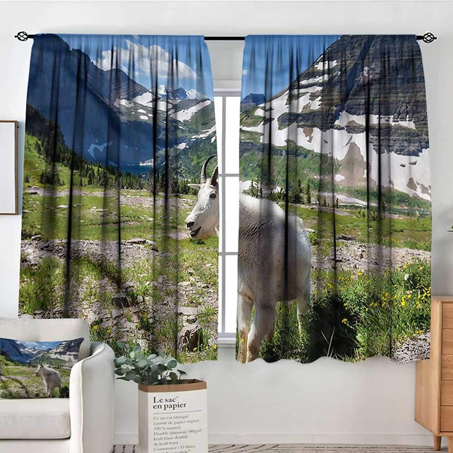Sanring Goat,Rod Curtains Glacier National Park USA 52 x63  Backout Curtains for Kids Iving Room