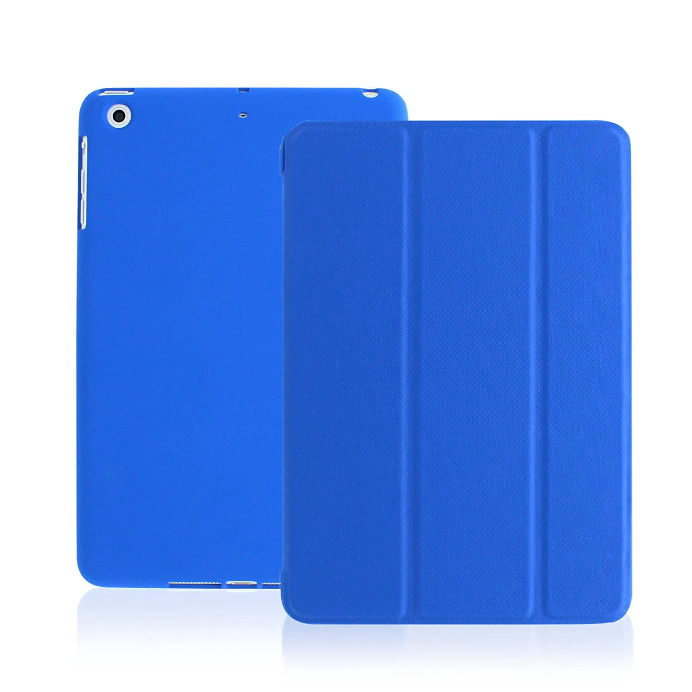 KHOMO Mini-Dual-Dark-Blue iPad Mini 1 2 3 Case - Dual Series - Ultra Slim Twill Blue Cover with Auto Sleep Wake Feature for Apple iPad Mini 1st, 2nd and 3rd Generation