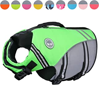 Vivaglory New Sports Style Ripstop Dog Life Jacket Safety Vest with Superior Buoyancy & Rescue Handle