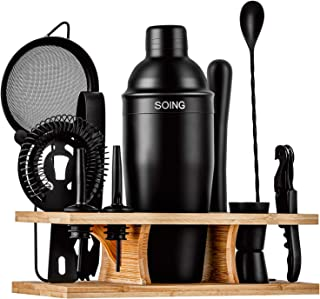 Soing 11-Piece Black Bartender Kit,Perfect Home Cocktail Shaker Set for Drink Mixing,Stainless Steel Bar Tools with Stand,...