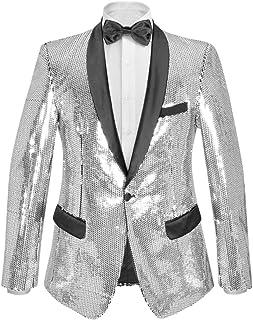 Tidyard Men's Sequin Dinner Jacket Tuxedo Party Blazer Shiny Sequins Silver Size 48