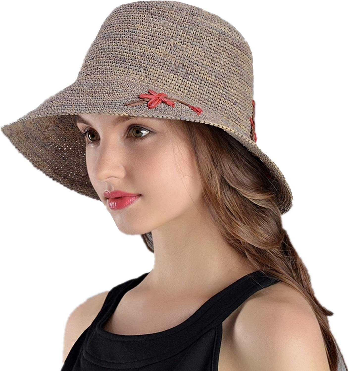 XINFU Women's HandWoven Foldable UPF50+ Wide Brim Embroidery Raffia Straw Hat