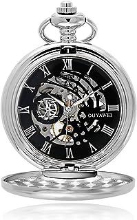 ساعة جيب للرجال ميكانيكية بيد الرياح هيكل عظمي Fob ساعة