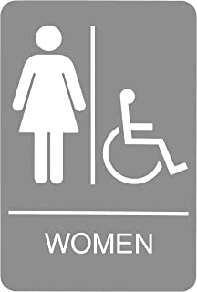Headline Sign 5219 ADA Wheelchair Accessible Women's Restroom Sign with Tactile Graphic, 6 Inches by 9 Inches, Light Gray/...