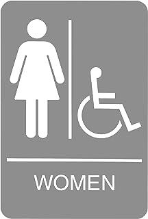 لافتة هيدلاين 5219 ADA كرسي متحرك للنساء يمكن الوصول إليه مع رسومات ملموسة، 15.24 سم × 22.86 سم، رمادي فاتح/أبيض