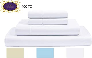 DK Luxe Linens 400 Thread Count 100% Premium Cotton sheets, Sateen Weave, Optical White Twin Size 3 Pcs Sheet Set, Marrow Hem, Breathable, Hotel Luxury, Extra Soft,Fits Mattress Upto 15'' Deep Pocket