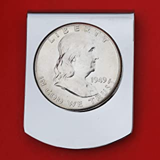 US 1949 Franklin Half Dollar Coin Stainless Steel Large Money Clip NEW - Wide Design