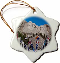 3dRose ORN_192179_1 USA, South Dakota, Black Hills, Mount Rushmore National Memorial. Snowflake Ornament, Porcelain, 3-Inch