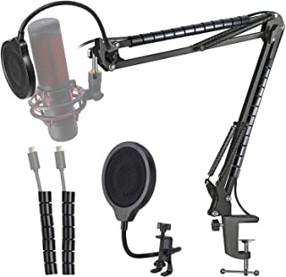 Hyperx Quadcast Soporte para micrófono – Brazo de brazo para micrófono de tijera y 2 bridas de cables para organizar cable...