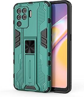 جراب FTRONGRT لهاتف Oppo A94، قوي ومضاد للصدمات، مع حامل هاتف محمول، مزود بعروة مغناطيسية للسيارة، غطاء لهاتف Oppo A94 - أخضر